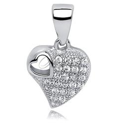 Srebrna zawieszka pr.925 serce z cyrkoniami serce w środku