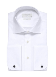 Biała koszula męska taliowana slim fit z mankietami na spinki 38