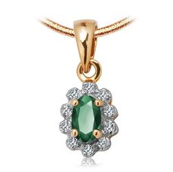 Staviori Wisiorek. 10 Diamentów, szlif achtkant, masa 0,04 ct., barwa I-L, czystość I2-I3. 1 Szmaragd, masa 0,14 ct.. Żółte, Białe Złoto 0,585. Wymiary 6,5x8 mm.