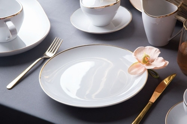 Talerz płytki  obiadowy porcelana mariapaula moderna gold 24 cm okrągły ze złotym zdobieniem