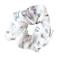 Gumka do włosów biała frotka scrunchie kwiaty - biała