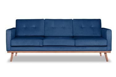Sofa fern 3-osobowa welurowa deluxe - welur łatwozmywalny indigo