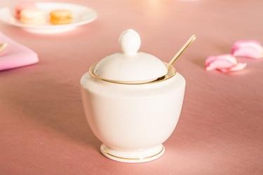 Cukiernica porcelana mariapaula ecru złota linia