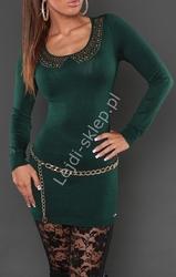 Sukienka dzianinowa z ozdobna imitacją kołnierzyka, butelkowa zieleń 8058