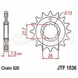 Zębatka przednia JT F1536-14, 14Z, rozmiar 520 2201263 Kawasaki ZX-6R 600