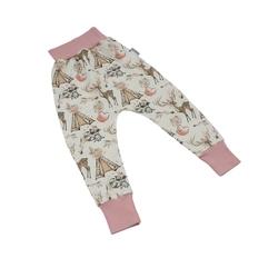 spodnie baggy boho girl z różowym 9298