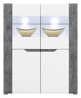 Witryna brando dwudrzwiowa przeszklona107 cm biały połysk + beton