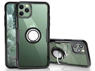 Etui alogy ring holder clear armor do apple iphone 11 pro czarne + szkło alogy