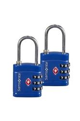 Dwie niebieskie kłódki zabezpieczające na szyfr z systemem tsa - midnight blue