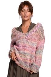 Wielokolorowy sweter melanżowy z dekoltem v - różowy