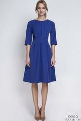 Niebieska Sukienka z Rękawem 34 i Podkreśloną Talią