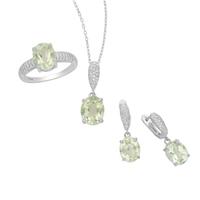 Komplet srebrnej biżuterii z zielonym ametystem