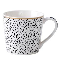 Kubek do kawy i herbaty porcelanowy altom design wysoki 350 ml, dekoracja modern black ii