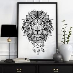 Aztecki lew - plakat designerski , wymiary - 70cm x 100cm, kolor ramki - biały