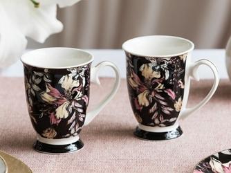 Kubki do kawy i herbaty porcelanowe na stopce altom design black lily 250 ml, komplet 2 szt.
