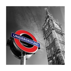 Big ben and underground sign - reprodukcja