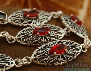 Aravco - srebrna bransoletka z rubinami