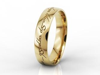 Obrączka męska z żółtego złota, runy ob-04z