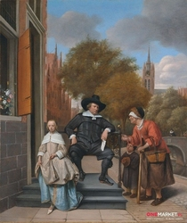portret adolfa croesera i jego córki cathariny - jan steen ; obraz - reprodukcja