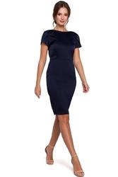 Granatowa elegancka sukienka z dekoltem typu woda