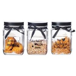 Pojemniki szklane  słoiki z zakrętką do przechowywania altom design 1000 ml, komplet 3 pojemników