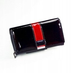 Skórzany portfel damski lakierowany czarny lorenti 76112 - czarny || czarny z czerwonym