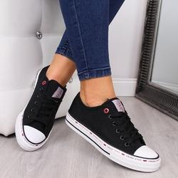 Trampki niskie z siatki czarne cross jeans ff2r4015c