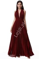 Sukienka wieczorowa plisowanka z odkrytymi plecami, ciemne wino goddiva 2496
