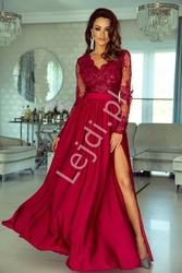 Sukienka na wesele z długim koronkowym rękawem | wieczorowa luna ciemne wino