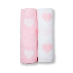 Zestaw 2szt kocyków - otulaczy muślinowych lulujo 100x100 - różowe serca