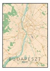 Budapeszt mapa kolorowa - plakat wymiar do wyboru: 40x50 cm