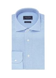Elegancka błękitna koszula męska z dzianiny slim fit 42