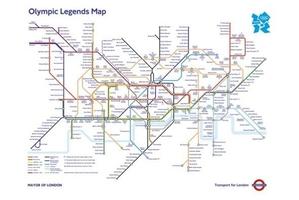Olympic legends underground map - plakat