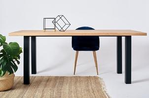 Nowoczesny dębowy stół tim na metalowych nogach  180x90 cm