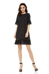Wizytowa sukienka z ozdobnym plisowaniem - czarna