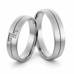 Obrączki ślubne z białego złota niklowego z brylantami - Au-1001