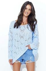 Błękitny Luźny Sweter z Szerokim Dekoltem