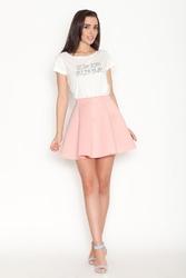 Jasnoróżowa delikatnie plisowana mini spódnica