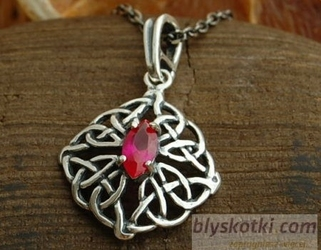 Galia - srebrny wisiorek z rubinem