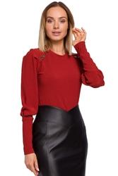 Prążkowana bluzka z bufiastym rękawem - ceglasta