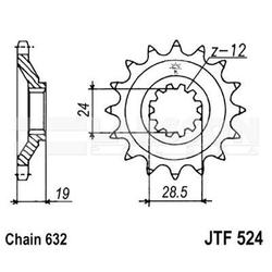 Zębatka przednia jt f524-15, 15z, rozmiar 632 2200444 kawasaki gpz 1000