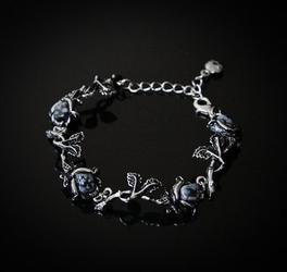 Obsydianowe czarne róże - obsydian śnieżny, bransoletka