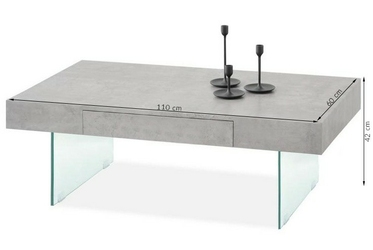 Szklana ława z szufladą arleen beton