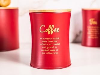 Puszka  pojemnik na kawę z pokrywą bambusową altom design czerwony, dek. coffee