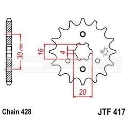 Zębatka przednia jt f417-13, 13z, rozmiar 428 2201575 kawasaki kmx 125
