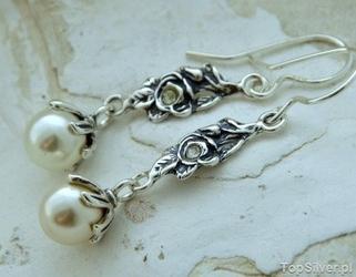 Róża - srebrne kolczyki z kryształem i perłą