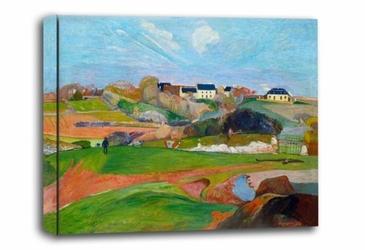 Landscape at le pouldu, paul gauguin - obraz na płótnie