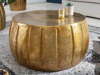 Złoty stolik marrakesch z młotkowanego aluminium  65x31x65 cm