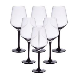 Kieliszki do wina czerwonego altom design rubin black 370 ml, komplet 6 szt.