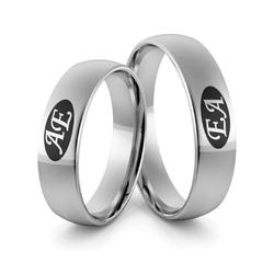Obrączki ślubne z białego złota niklowego z inicjałami i emalią - Au-977